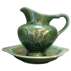 Hull Imperial Eagle Dark Green Small Pitcher Bowl Set