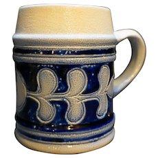 Colonial Williamsburg Cobalt Blue Salt Glazed Leaf Pattern Mug