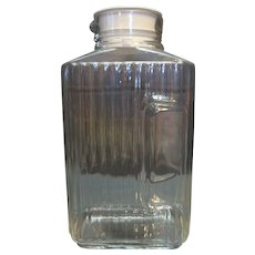 ARC France Refrigerator Watter Bottle Carafe Clear Ribbed Glass