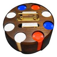 Drueker Wood Revolving Poker Caddy 200 Chips Two Decks Cards