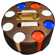Drueker Wood Revolving Poker Caddy 200 Chips Two Decks Cards