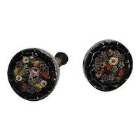 Italian Micro Mosaic Black Floral Screwback Earrings