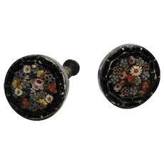 Italian Micro Mosaic Black Floral Screwback Earrings