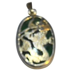 Jade Green Stone Oval Dragon Pendant Asian