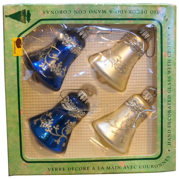 White Christmas In Germany.Krebs West Germany Blue White Christmas Ornaments Bells Silver Embellished Mica In Box