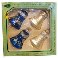 Krebs West Germany Blue White Christmas Ornaments Bells Silver Embellished Mica In Box
