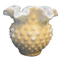 Fenton Hobnail Milk Glass 4 IN 3854 Miniature Vase Double Crimped