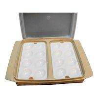 Tupperware 723-1 Deviled Egg Carrier Dish Beige Sheer White