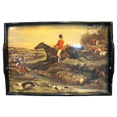 Fox Hunt Equestrian Wooden Serving Tray
