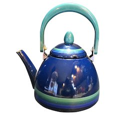 Pfaltzgraff Ocean Breeze Blue Teal Green Enamel Tea Kettle