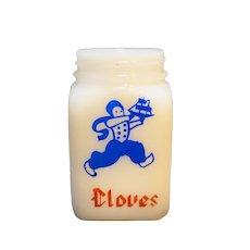 Cloves Dutch Boy Milk Glass Shaker Jar No Lid