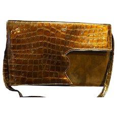 Judi Z Made in Spain Vintage Shoulder Bag Brown Bronze Patent Alligator Embossed Suede
