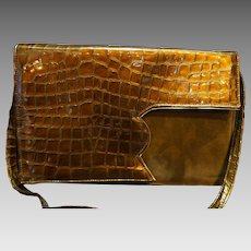 Judi Z Made in Spain Vintage Shoulder Bag Brown Bronze Patent Alligator Embossed Suede