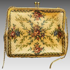 West Germany Cream Floral Tapestry Purse
