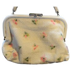 White Beaded Floral Embroidered Summer Reversible Purse 1950s