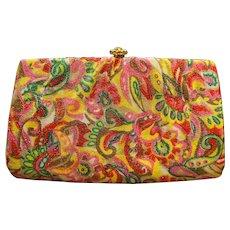 Vintage Bright Op Art Metallic Paisley Clutch Evening Bag