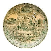 New Orleans Souvenir Plate Green Transferware Small