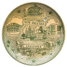 New Orleans Souvenir Plate Green Transferware Small