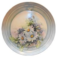 Cabinet Plate Hand Painted Daisies Home Artist Signed 9 IN