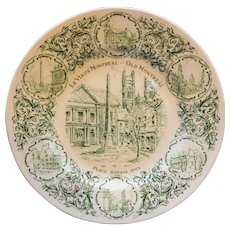 Le Vieux Montreal Green Transferware Plate Wood & Sons England Ironstone