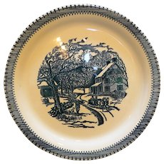 Currier & Ives Blue Country Life Knowles Cake Chop Plate Round Platter