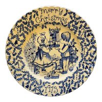 Merry Christmas 1973 Crownford Blue Transferware Plate