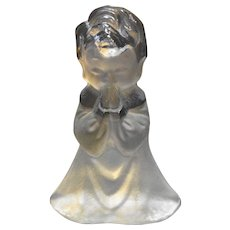 Viking Art Glass Clear Frosted Praying Boy Child Figurine