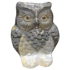 Viking Art Glass Clear Frosted Owl Figurine