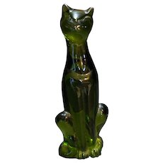 Viking Art Glass Epic Olive Avocado Green Cat Figurine
