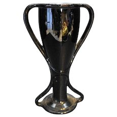 Black Amethyst Glass Loving Cup Trophy Vase Depression Glass