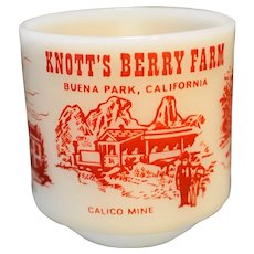 Knott's Berry Farm Federal Glass Advertising Souvenir Mug Milk Glass