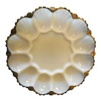 Anchor Hocking Fire King Ivory White Glass Egg Plate Gold Trim