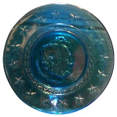 President Lincoln Wheaton Blue Glass Plate 8 IN Great American Presidents