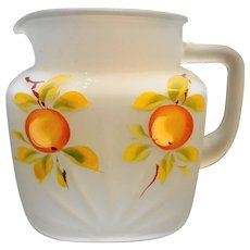 Gay Fad Peaches Hand Painted Frosted Federal Glass Star Juice Pitcher