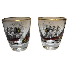 Libbey Treasure Island Pirates Shot Glasses Pair