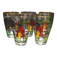 Libbey Treasure Island Pirates Glasses 10 Oz Flat Tumblers Set of 5