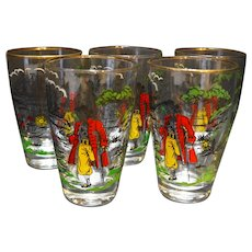 Libbey Treasure Island Pirates Glasses 10 Oz Flat Tumblers Set of 5