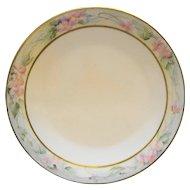 Tressemanes & Vogt T&V France Limoges Hand Painted Art Nouveau Pink Flowers Rim Plate 9 IN