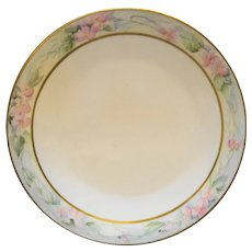 Tressemanes & Vogt T&V France Limoges Hand Painted Art Nouveau Pink Flowers Rim Plate 9 IN
