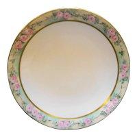 Tressemanes & Vogt T&V France Limoges Hand Painted Art Nouveau Pink Roses Rim Plate 9 IN