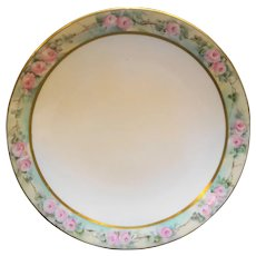 Tressemanes & Vogt T&V France Limoges Hand Painted Art Nouveau Pink Roses Rim Plate 9 IN