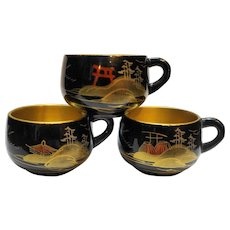 Black Gold Lacquerware Cups Japan Set 3