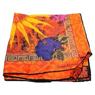 Louis Feraud Paris Pocket Square Cotton Bright Sun Print 12 IN