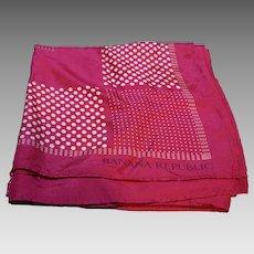Banana Republic Silk Scarf Hot Pink White Polka Dots 34 IN