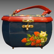 Strawberries Decoupaged Wooden Box Purse Blue Red