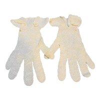 Cream Crocheted Fish Net Ladies' Vintage Gloves 1920s