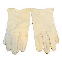 Cream English Cotton Gloves Made in Japan 7 1/2