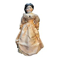 German China Head Doll Dotter Late 1800s Black Hair Blue Eyes 23 IN
