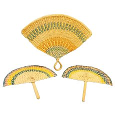 Woven Straw Mexico Hand Fans Set 3