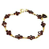 Garnet Bracelet Heart Dangle Flower Links